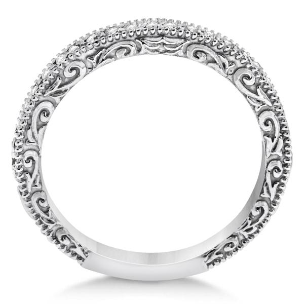Milgrain & Filigree Diamond Wedding Band Platinum (0.20ct.)