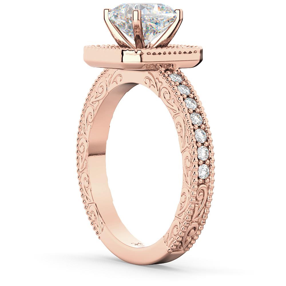 Milgrain Square Halo Diamond Engagement Ring 18kt Rose Gold (0.32ct.)