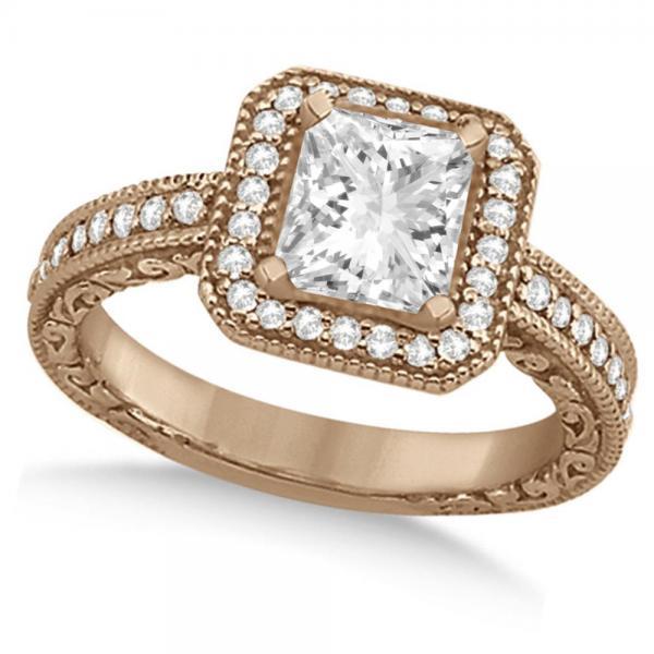 Milgrain Square Halo Princess Cut Bridal Set 14k Rose Gold (1.20ct)