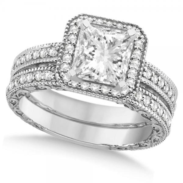 Milgrain Square Halo Princess Cut Bridal Set 14k White Gold (1.20ct)
