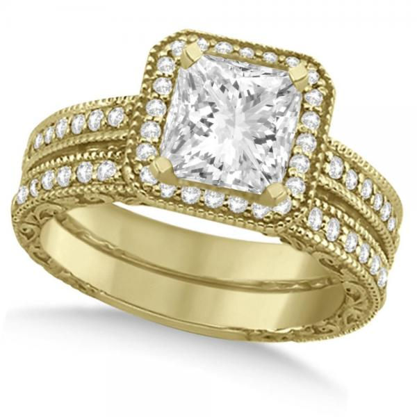 Milgrain Square Halo Princess Cut Bridal Set 18k Yellow Gold (1.20ct)