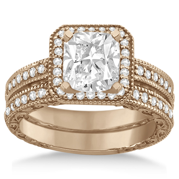 Square Halo Wedding Band & Engagement Ring 18kt Rose Gold (0.52ct.)