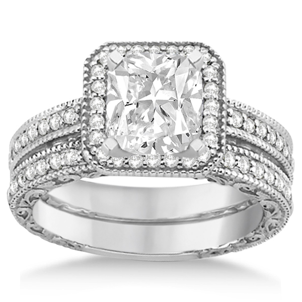 Square Halo Wedding Band Diamond Engagement Ring Platinum