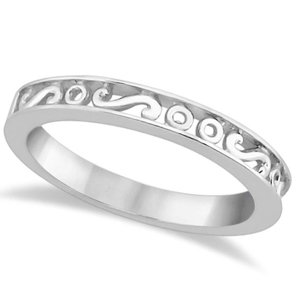 Hand Carved Infinity Symbol Design Wedding Band In Palladium Allurez