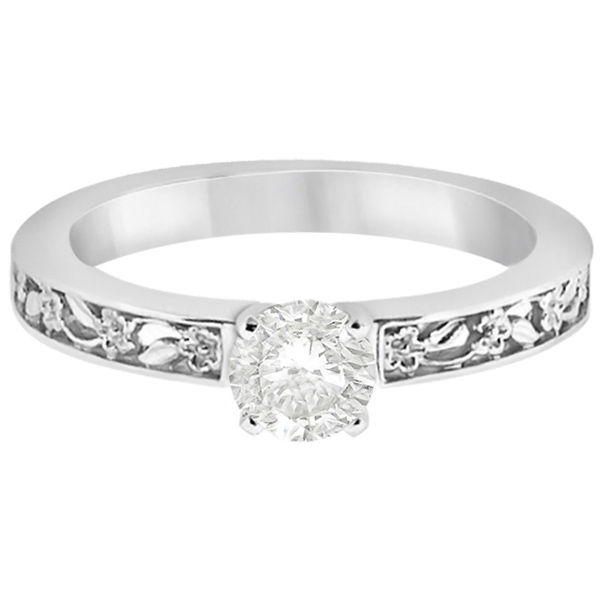 Flower Carved Solitaire Engagement Ring Setting 18kt White Gold