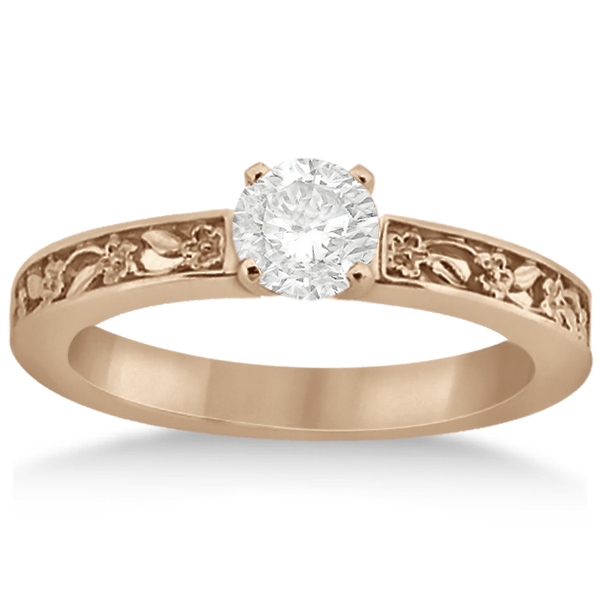 Flower Carved Solitaire Engagement Ring & Wedding Band 14kt Rose Gold