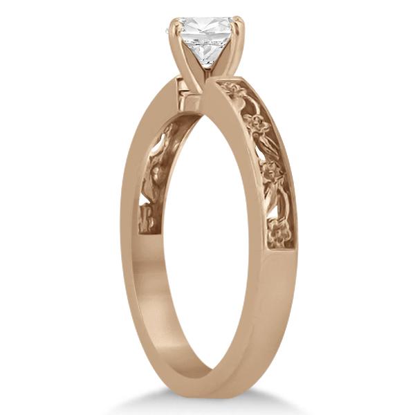 Flower Carved Solitaire Engagement Ring & Wedding Band 14kt Rose Gold