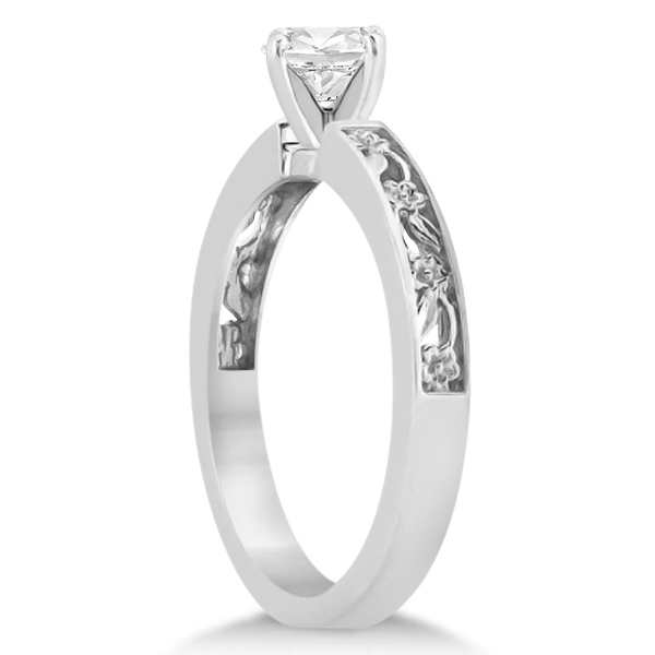 Flower Carved Solitaire Engagement Ring & Wedding Band 14kt White Gold