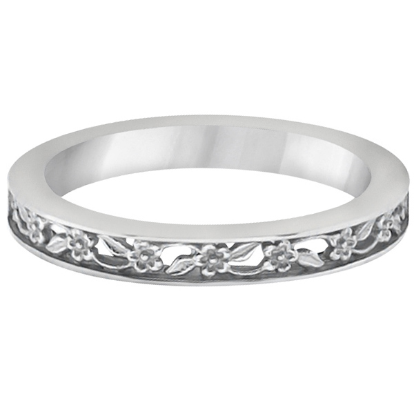 Flower Carved Solitaire Engagement Ring & Wedding Band Platinum