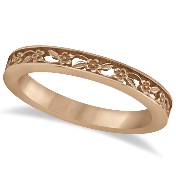 Flower Carved Wedding Ring Filigree Stackable Band 14k Rose Gold