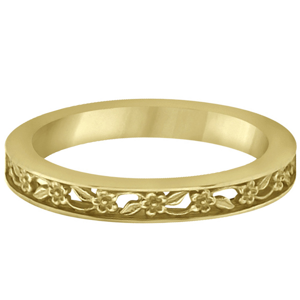 Flower Carved Wedding Ring Filigree Stackable Band 14k Yellow Gold