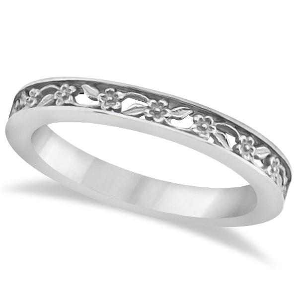 Flower Carved Wedding Ring Filigree Stackable Band Platinum