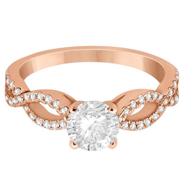 Diamond Twist Infinity Engagement Ring Setting 14K Rose Gold (0.40ct)