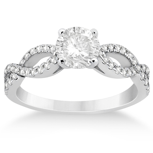 Diamond twist infinity engagement ring setting 14k white for Infinity design wedding ring