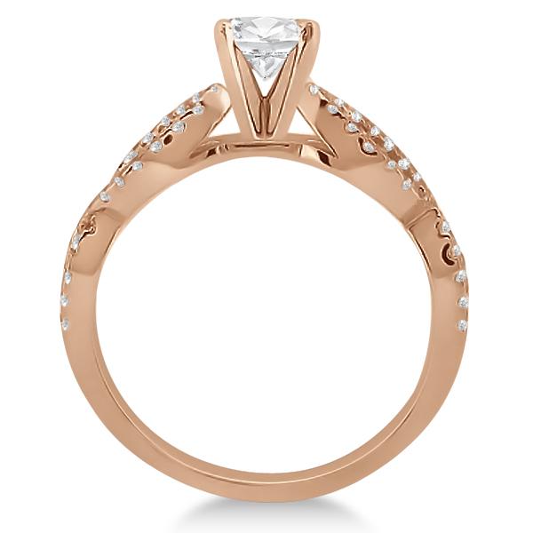 Diamond Twist Infinity Engagement Ring Setting 18k Rose Gold (0.40ct)