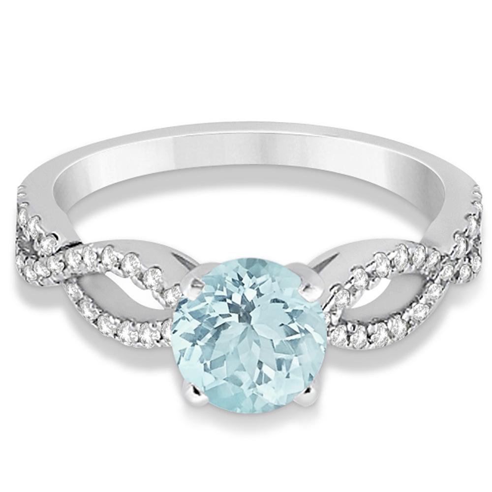 aquamarine twist infinity engagement ring 14k
