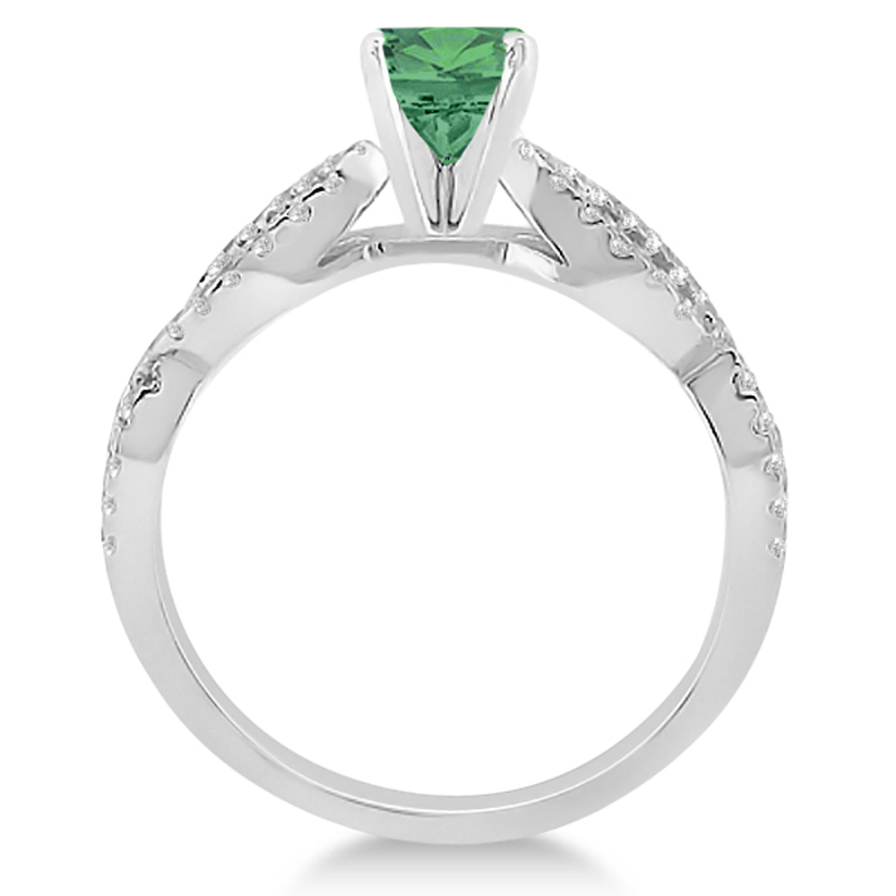 emerald twist infinity engagement ring 14k white