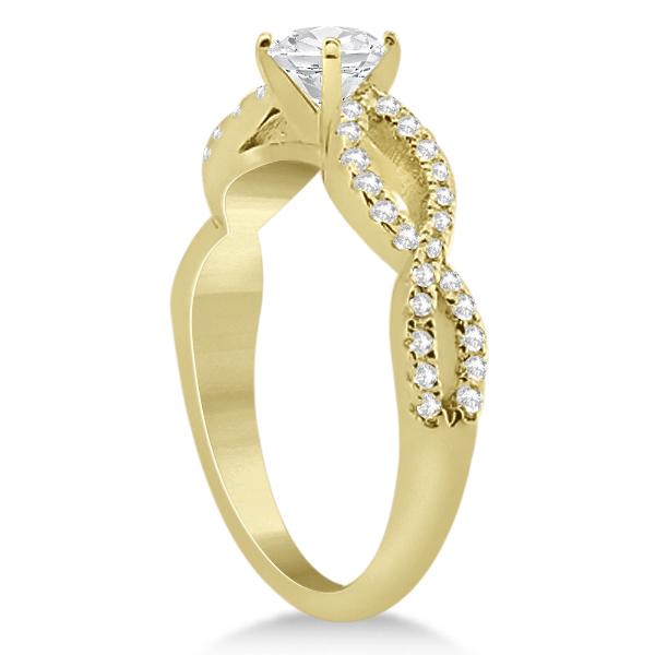 Infinity Twist Diamond Ring with Band Setting 14K Yellow Gold (0.60ct)