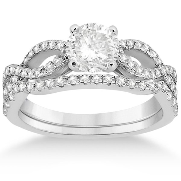 Infinity Platinum: Infinity Twist Diamond Ring With Band Setting Platinum 0
