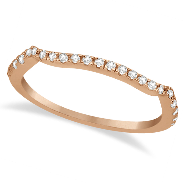 Contoured Semi-Eternity Diamond Band Setting 14K Rose Gold (0.20ct)