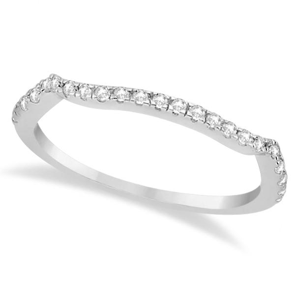 Contoured Semi-Eternity Diamond Band Setting 18k White Gold (0.20ct)