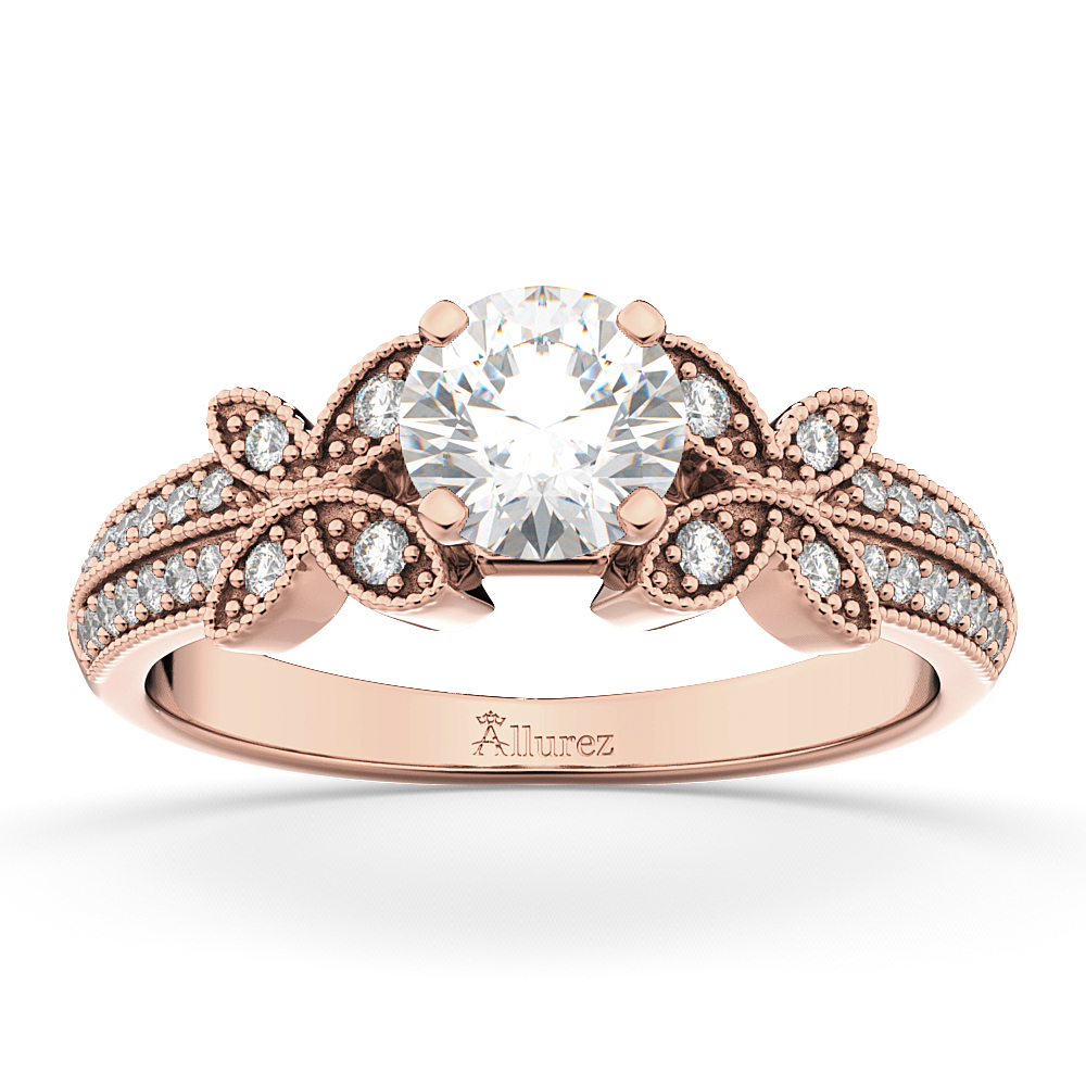 Butterfly Milgrain Diamond Engagement Ring 14K Rose Gold (0.25ct)