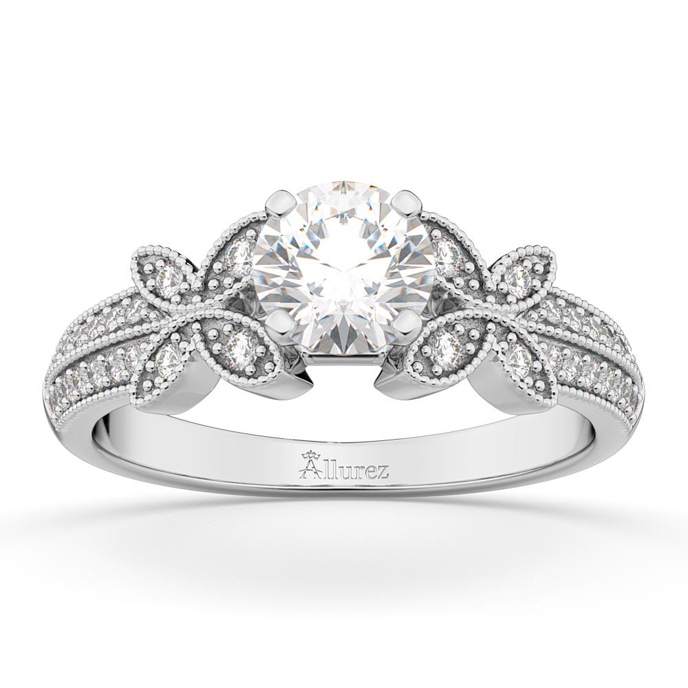 Butterfly Milgrain Diamond Engagement Ring 14K White Gold (0.25ct)