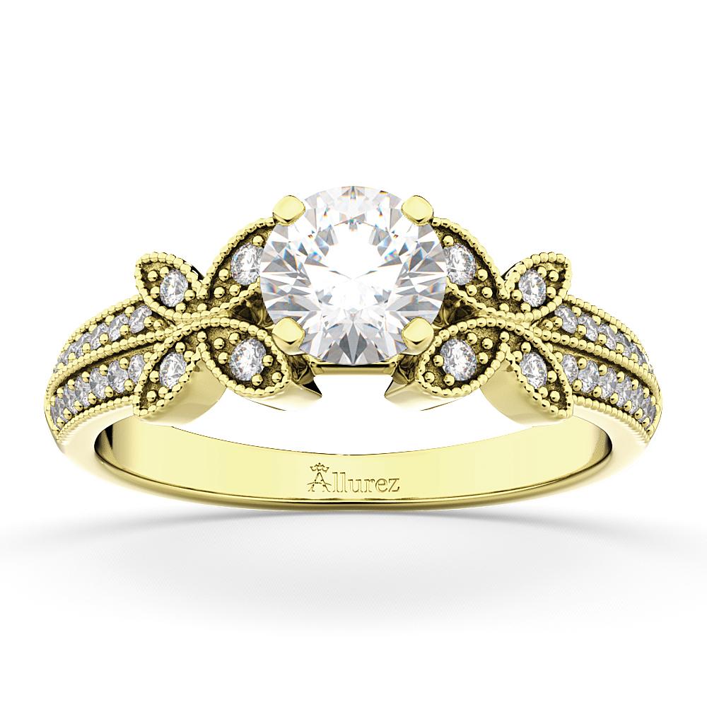 Butterfly Milgrain Diamond Engagement Ring 18k Yellow Gold (0.25ct)