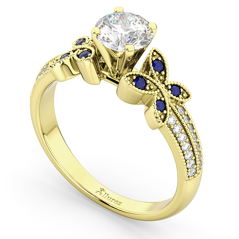 Diamond & Blue Sapphire Butterfly Engagement Ring 18K Yellow Gold