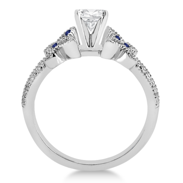 Diamond & Blue Sapphire Butterfly Engagement Ring Setting Palladium