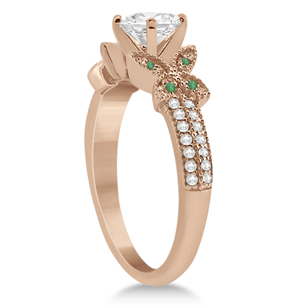 Diamond & Green Emerald Butterfly Engagement Ring 14K Rose Gold