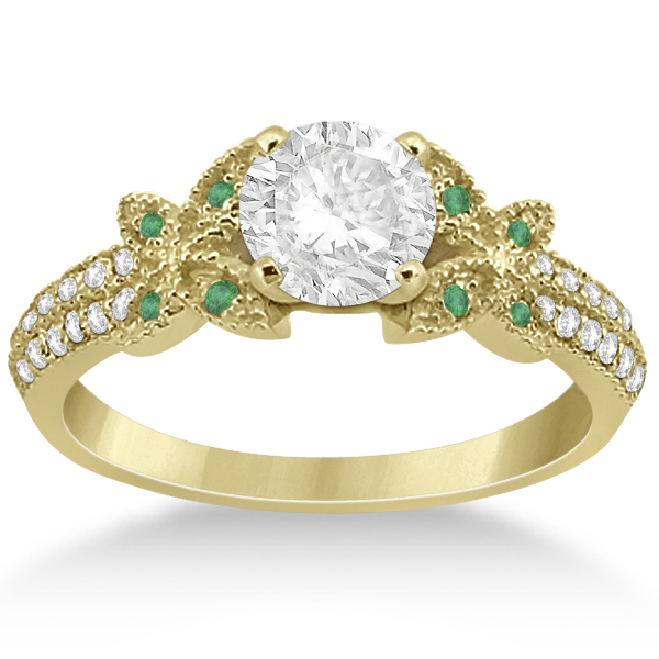 Diamond & Green Emerald Butterfly Engagement Ring 14K Yellow Gold