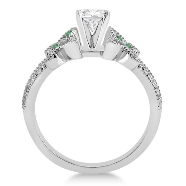 Diamond & Green Emerald Butterfly Engagement Ring Setting Platinum