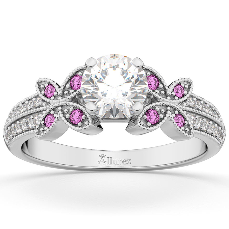 diamond pink sapphire butterfly engagement ring 14k white gold - Butterfly Wedding Rings