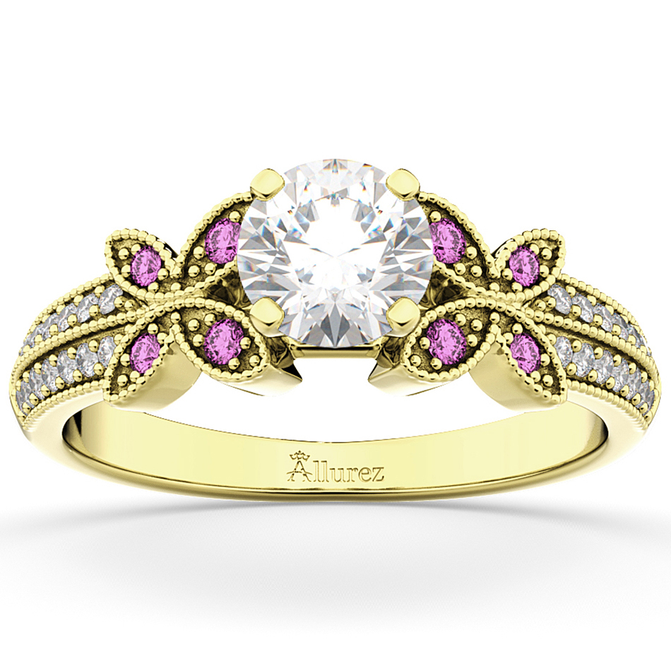 Diamond & Pink Sapphire Butterfly Engagement Ring 18K Yellow Gold