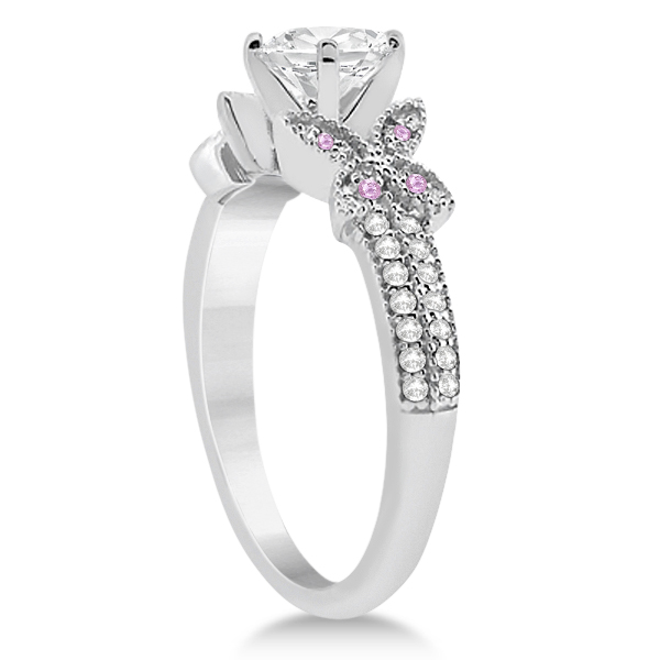 Diamond & Pink Sapphire Butterfly Engagement Ring Setting Palladium