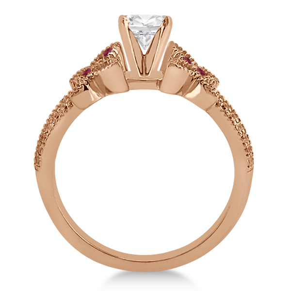 Diamond & Ruby Butterfly Engagement Ring Setting 14K Rose Gold