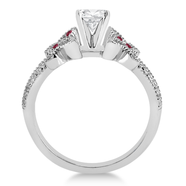 Diamond & Ruby Butterfly Engagement Ring Setting 18K White Gold