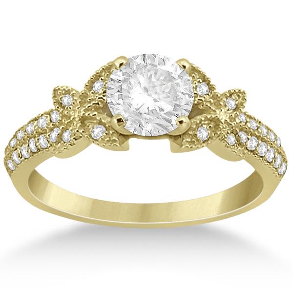 Butterfly Milgrain Diamond Ring & Wedding Band 18k Yellow Gold (0.40ct)