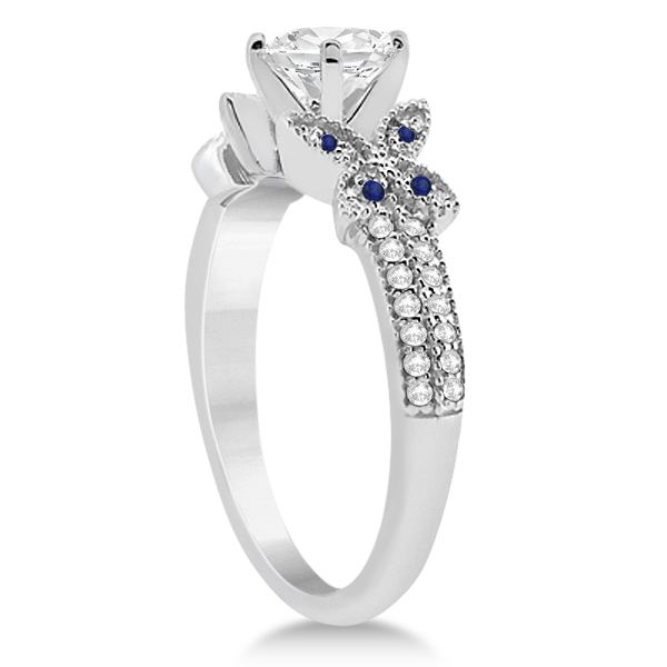Butterfly Diamond & Blue Sapphire Bridal Set 14K White Gold (0.39ct)