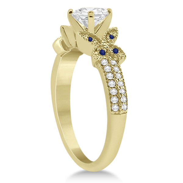 Butterfly Diamond & Blue Sapphire Bridal Set 14K Yellow Gold (0.39ct)