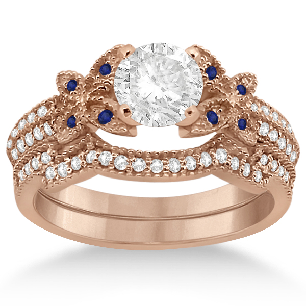 Butterfly Diamond & Blue Sapphire Bridal Set 18k Rose Gold (0.39ct)