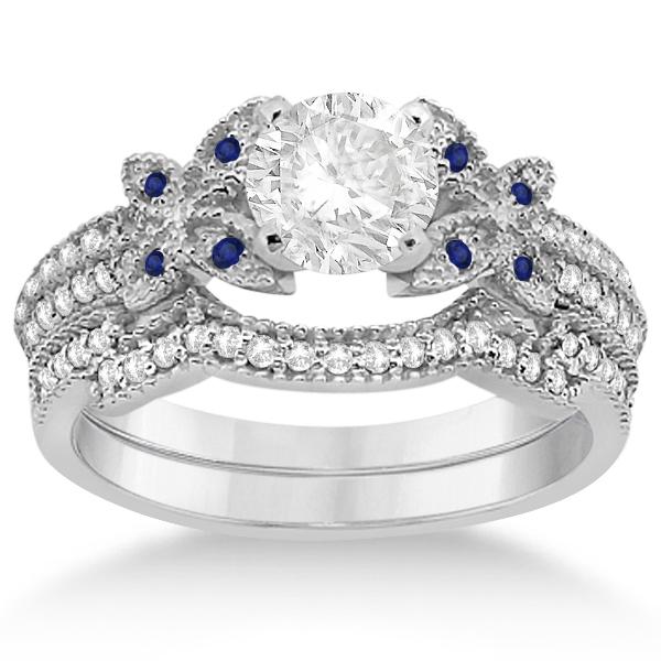 Butterfly Diamond & Blue Sapphire Bridal Set Palladium (0.39ct)