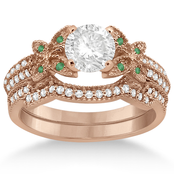 Butterfly Diamond & Emerald Bridal Set 14K Rose Gold (0.39ct)