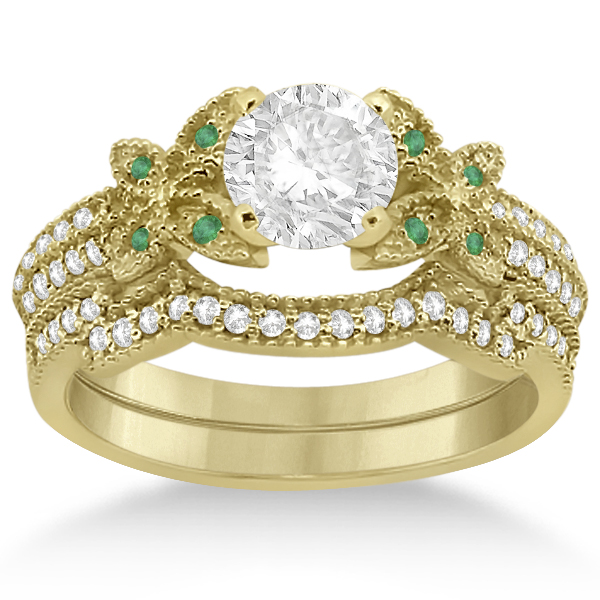Butterfly Diamond & Emerald Bridal Set 14K Yellow Gold (0.39ct)