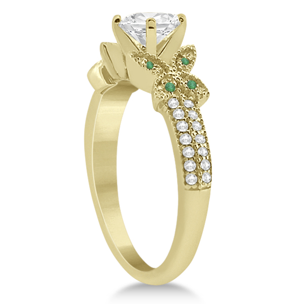 Butterfly Diamond & Emerald Bridal Set 18k Yellow Gold (0.39ct)