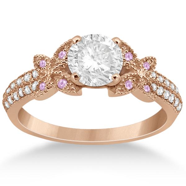 Butterfly Diamond & Pink Sapphire Bridal Set 14K Rose Gold (0.39ct)