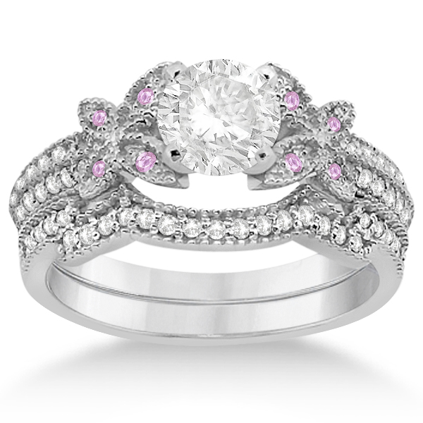 Butterfly Diamond & Pink Sapphire Bridal Set 14K White Gold (0.39ct)