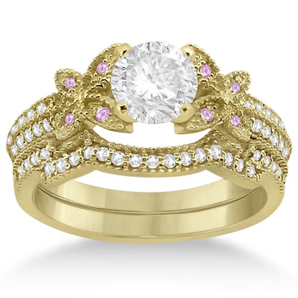 Butterfly Diamond & Pink Sapphire Bridal Set 14K Yellow Gold (0.39ct)