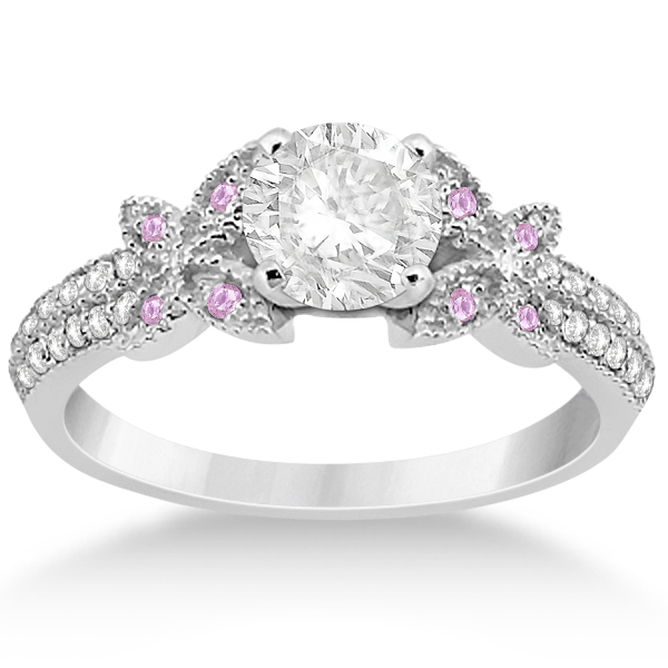 Butterfly Diamond & Pink Sapphire Bridal Set 18k White Gold (0.39ct)
